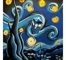 Blue Tardis Starry Night Photographic Print