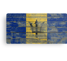 Flag of Barbados on Rough Wood Boards Effect Metal Print