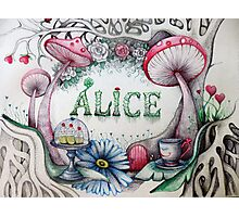 alice in the woods name sketch  Photographic Print