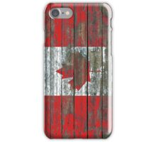 Flag of Canada on Rough Wood Boards Effect iPhone Case/Skin