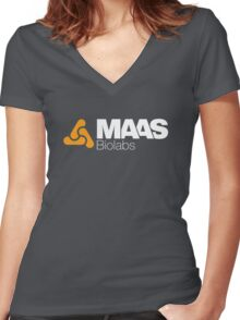 MAAS Biolabs Corporate Logo - White Women's Fitted V-Neck T-Shirt