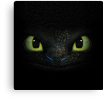 Toothless Night Furry Canvas Print