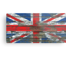 Union Jack Flag on Rough Wood Boards Effect Metal Print