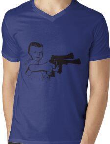 Boy With Gun Mens V-Neck T-Shirt