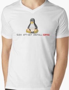 Linux - Get Install Coffee Mens V-Neck T-Shirt