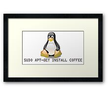 Linux - Get Install Coffee. Framed Print