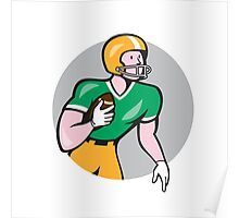 American Football Player Rusher Circle Retro Poster