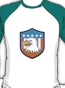 American Bald Eagle Head Smiling Flag Cartoon T-Shirt