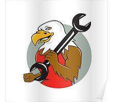 American Bald Eagle Mechanic Wrench Circle Cartoon Poster