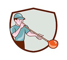 Glassblower Glassblowing Cartoon Shield by patrimonio