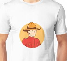 Mounted Police Officer Bust Circle Cartoon Unisex T-Shirt