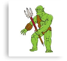 Orc Warrior Monster Trident Cartoon Canvas Print