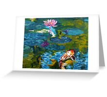 Tranquil Koi Lily Pond Greeting Card