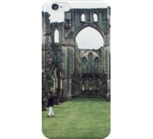 Visitors in western nave of church facing east, church of Abbey Rievaulx North Yorkshire England 198406020053 iPhone Case/Skin