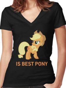 Applejack Is Best Pony - MLP FiM - Brony Women's Fitted V-Neck T-Shirt