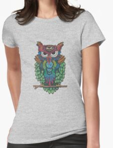 Cosmic Owl Womens Fitted T-Shirt