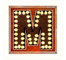 Vintage Lighted Sign - Monogram Letter M Art Print