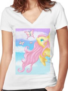 Fluttershy Women's Fitted V-Neck T-Shirt
