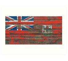 Flag of Bermuda on Rough Wood Boards Effect Art Print