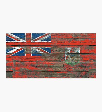 Flag of Bermuda on Rough Wood Boards Effect Photographic Print