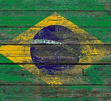 Flag of Brazil on Rough Wood Boards Effect by Jeff Bartels