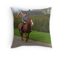 Hacking along a country lane Throw Pillow