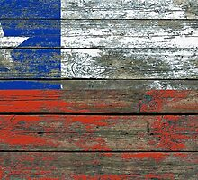 Flag of Chile on Rough Wood Boards Effect by Jeff Bartels