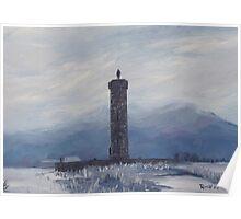 Glenfinnan monument - Misty snow Poster