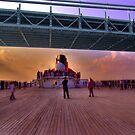 Queen Mary 2 Under the Verrazano Bridge by Peter Bellamy