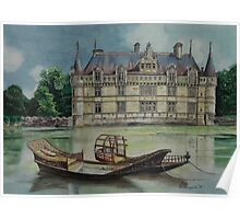 French castle - watercolour Poster