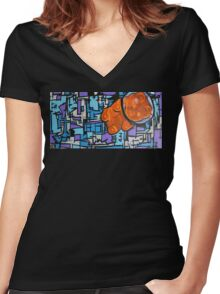 Astronaut Gummy Bear Women's Fitted V-Neck T-Shirt