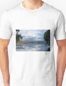 Cloud and mist over Wallaga lake and Gulaga T-Shirt