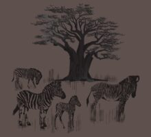 Zebra and Baobab Tree by Lotacats