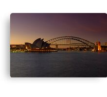 Sydney Opera House Lights Dimmed  As A Tribute To Architect Joern Utzon Canvas Print