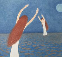 Blue Bridge: Mother, Child,Sea and Moon by Claudine Peronne