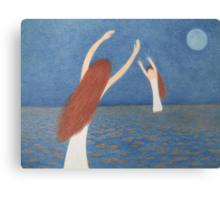 Blue Bridge: Mother, Child,Sea and Moon Canvas Print