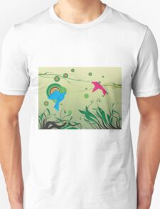 Pink and Blue pigeons T-Shirt