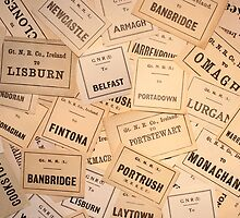 GREAT NORTHERN RAILWAY IRELAND LUGGAGE LABELS 1930'S-1940'S by TICKETSPLEASE