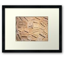GREAT NORTHERN RAILWAY IRELAND LUGGAGE LABELS 1930'S-1940'S Framed Print
