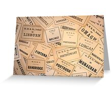 GREAT NORTHERN RAILWAY IRELAND LUGGAGE LABELS 1930'S-1940'S Greeting Card