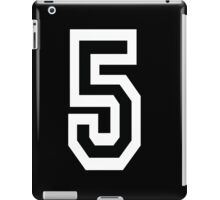 5, TEAM SPORTS, NUMBER 5, FIFTH, FIVE, Competition, White on Black iPad Case/Skin