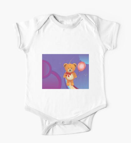 Teddy Bear with Red Bow One Piece - Short Sleeve