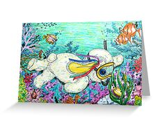 Pooky Snorkelling and having a chat with Mr yellowfish Greeting Card