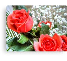 Bouquet with red roses 8 Canvas Print