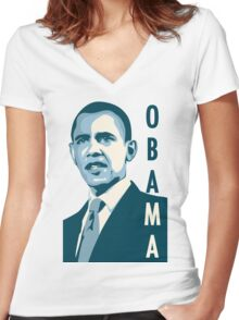 obama : verticle text Women's Fitted V-Neck T-Shirt