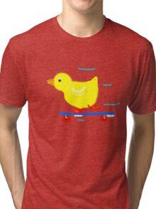 DUCKY ON A SKATEBOARD  Tri-blend T-Shirt