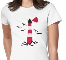 Lighthouse waves birds Womens Fitted T-Shirt
