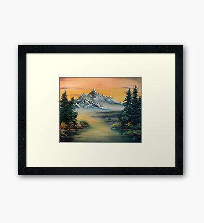 Majestic Mountains at Sunset Framed Print