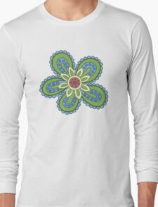 Blue and Green Cartoon Flower T-Shirt