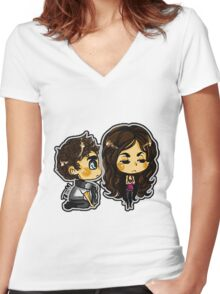 the vampire diaries CARTOON  Women's Fitted V-Neck T-Shirt